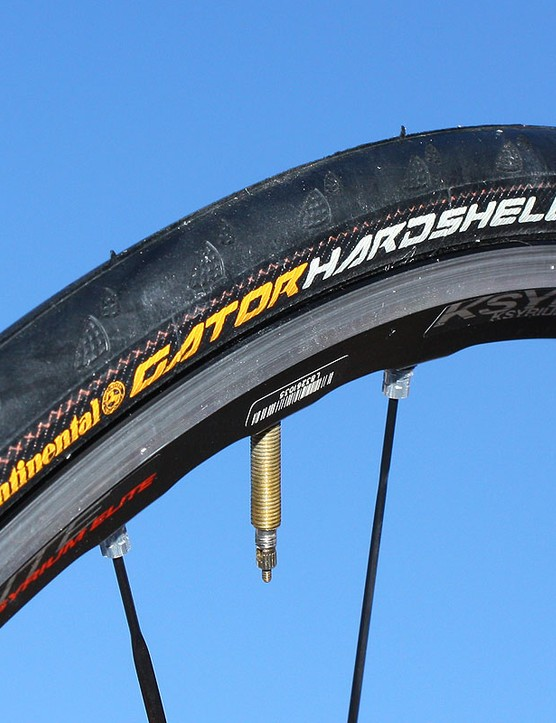 Continental's new Gator Hardshell is the company's premier high-mileage road tyre with bead-to-bead DuraSkin reinforcement, a Poly-X breaker belt, and extra-thick tread rubber for flat resistance and long-wearing durability.