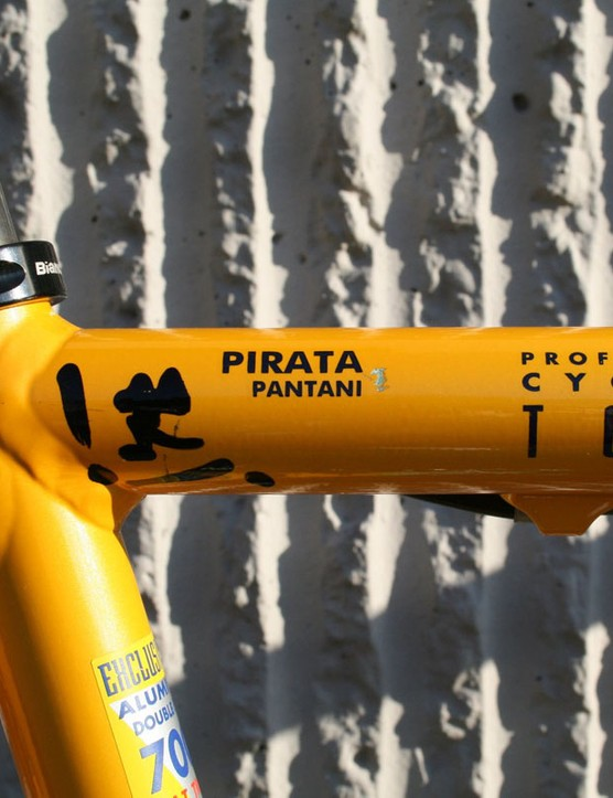 This isn't just a production bike emblazoned in team livery and with a rider's name on it – it was a full custom build made just for Pantani