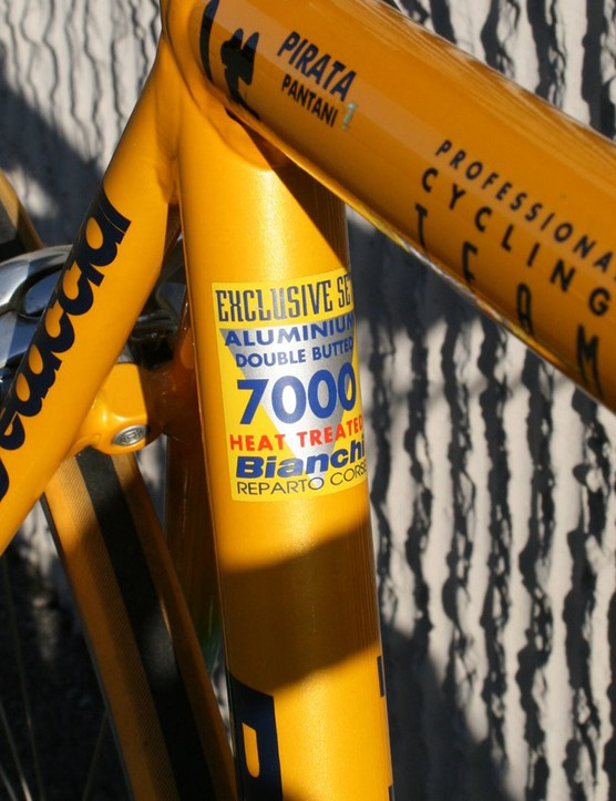 Bianchi built Pantani's frame with double-butted aluminium tubing from Dedacciai