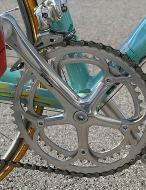 The 170mm-long Campagnolo Record cranks are fitted with enormous 44/54T chainrings
