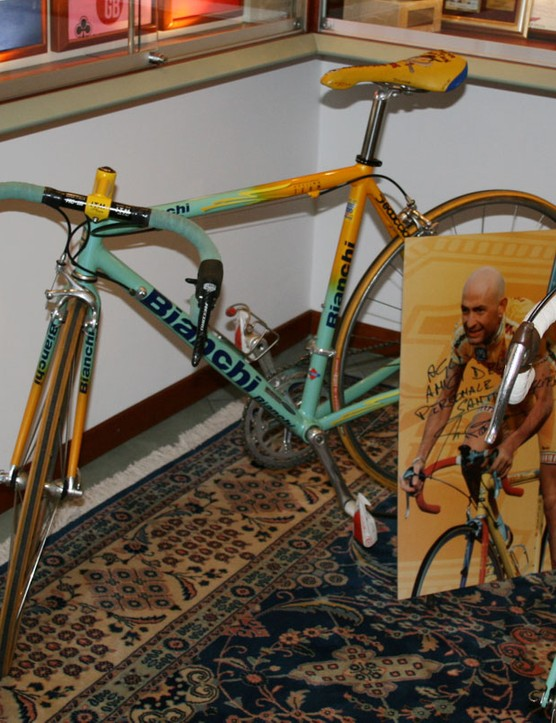 Pantani's machine – and his memory – live on in a corner of Bianchi's private museum