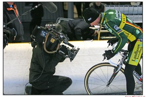 Sven Nys tests Dugast's now banned Diavolo for the Belgian network Sporza.