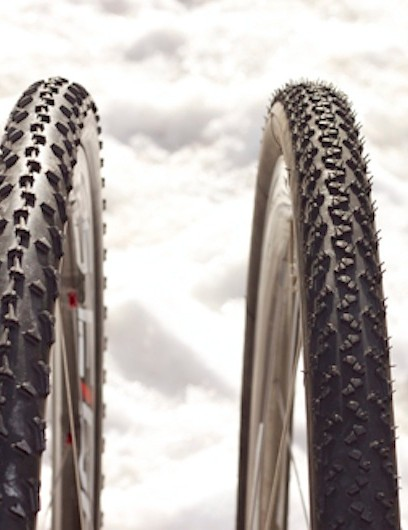 The Crusade PDX (left) as compared to the benchmark Michelin Mud 2.