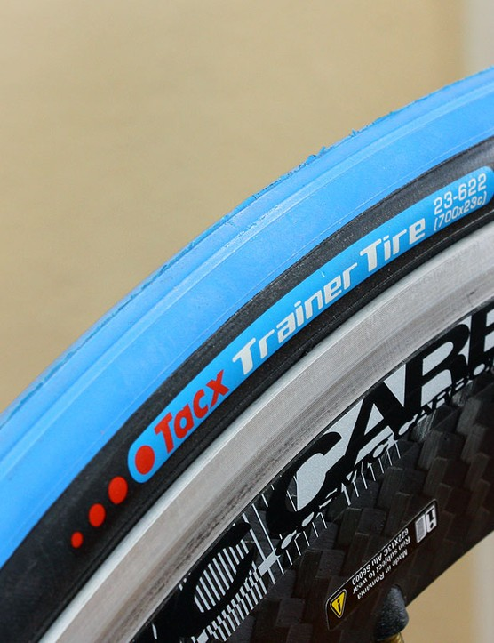 Tacx also offers a matching trainer-specific tire with a harder compound and raised center for quieter running