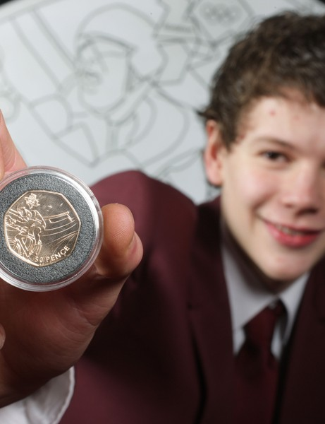 Theo's creation is the second in a series of 29 officially licensed London 2012 50p coins designed by members of the public