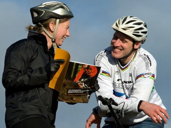 Scottish sports minister Shona Robison and Steve Peat have launched a new mountain biking strategy for Scotland
