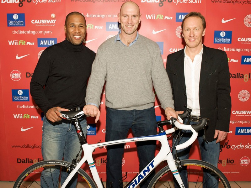 Former footballers Les Ferdinand (left) and Lee Dixon (right) have joined ex-rugby star Lawrence Dallaglio on the first leg of his Cycle Slam