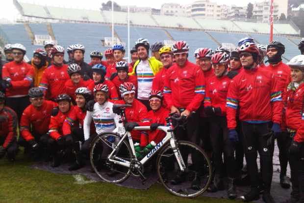 Team Dallaglio before the start...and the snow
