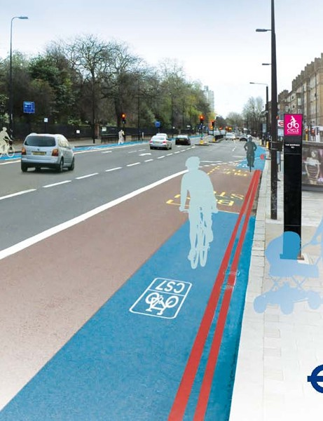 Artist's impression of the Cycle Superhighway as it passes along Kennington Park Road
