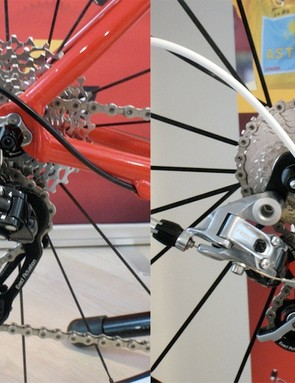 Apex's rear derailleur is a blend of aluminum and steel construction as opposed to the carbon/aluminum blend of Red.
