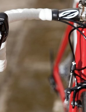 It's hard to miss the SRAM logo on the Apex Double Tap shifters.