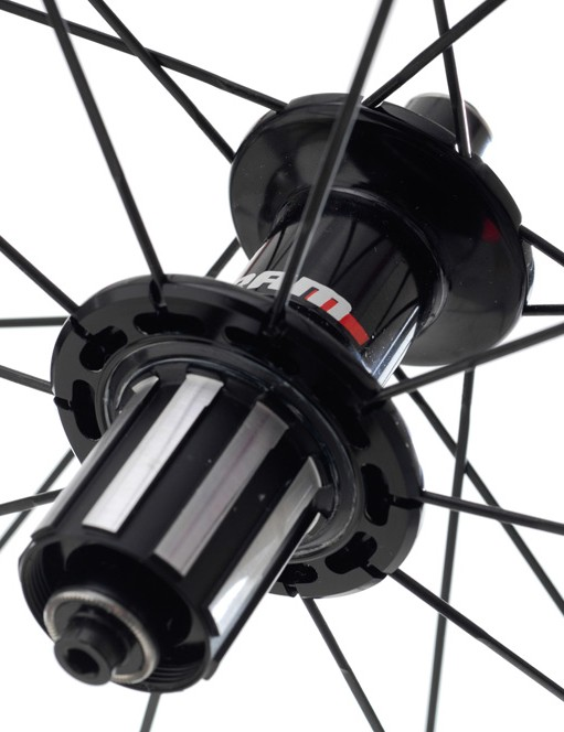 This angle demonstrates SRAM's attempt to make as much of the space available to spokes on the non-drive side of the rear hub.