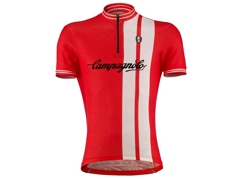 Campagnolo's Half Zip Flocked Logo Jersey combines wicking Sportwool fabric with retro styling