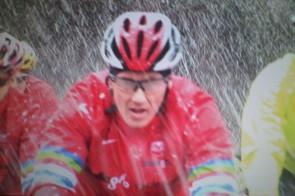 On me 'ead son...Lee Dixon 'enjoys' the snow.