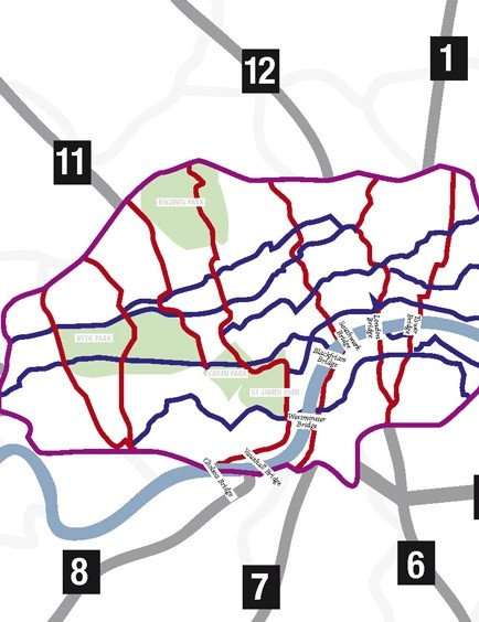 Map showing the proposed Cycle Superhighways and BikeGrid network