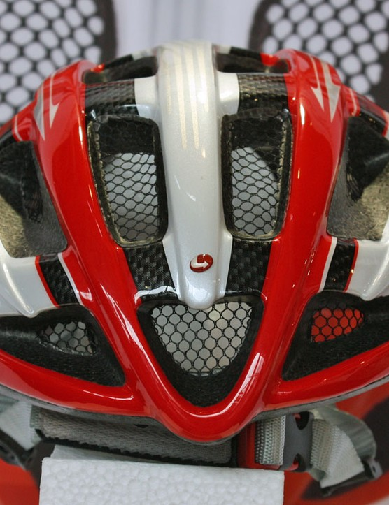 Integrated mesh netting on the forward vents will protect riders from stinging insects