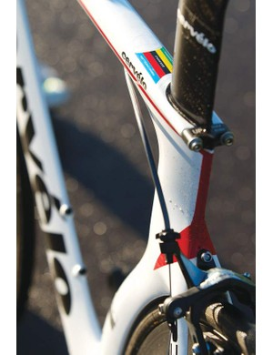 The instantly recognisable curved seat tube houses a teardrop seatpost, held in place with a neat twin-bolt clamp