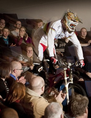 Steve Peat makes a dramatic entrance at the Pennine Theatre at Sheffield Hallam University