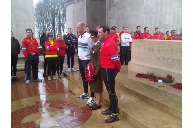 Lawrence, Rafa Ibanez and Major Sally Orange lay a wreath at the Lutyens Memorial, Thiepval