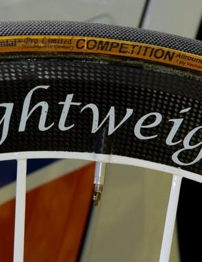 Milram use 22mm-wide Continental tubulars on their Lightweight Obermeyer wheelset
