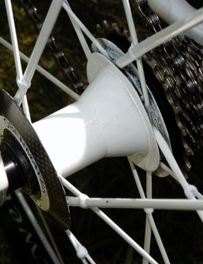 Roels' Lightweight Obermeyer wheels are finished in white to match the team livery