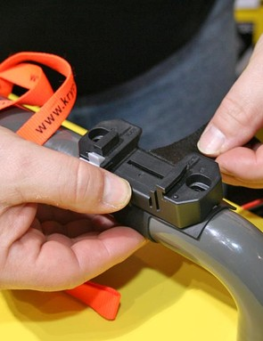 You can either use bottle cage bolts or nylon strap fitting