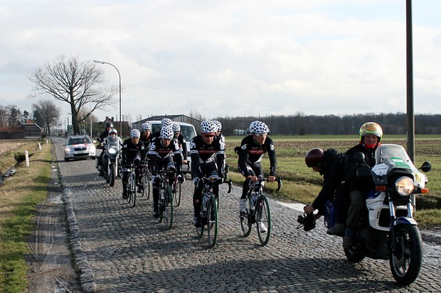 The Cervelo TestTeam train on the cobbles before the Omloop Het Nieuwsblad