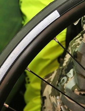 High-viz wheel sticker close-up