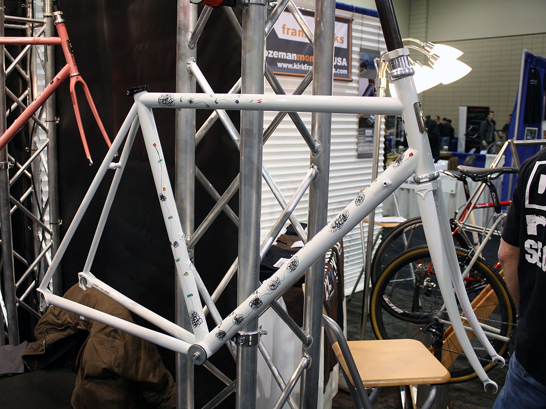 Even without a big logo on the down tube, this TIG-welded steel frame is unmistakably Pegoretti.