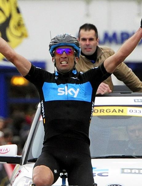 Juan Antonio Flecha wins the Omloop Het Nieuwsblad for Team Sky