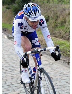 Frederic Guesdon in action on the cobbles