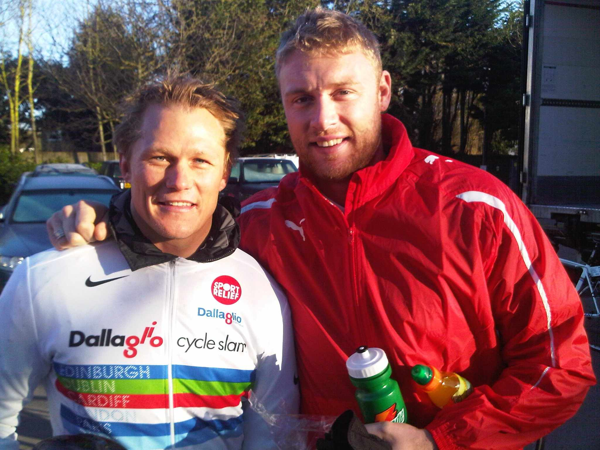Josh Lewsey and Andrew 'Freddy' Flintoff. It is energy drink in the bottle...