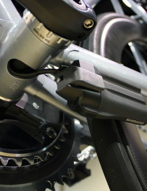 The battery is mounted beneath the chainstay using dedicated braze-ons