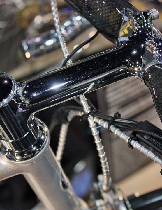 Mounted up high is a highly polished and chromed stem