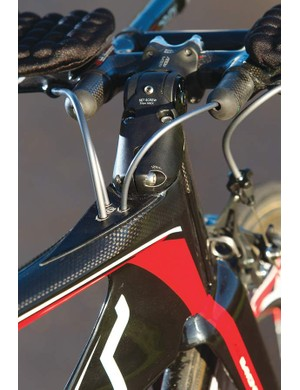 The internal cable routing, tucked behind the stem is among several details that help minimise drag and disturbance