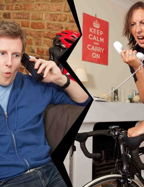 Comedian Miranda Hart, pictured here with Patrick Kielty to publicise BT Chat for Change Day, fell from her bike and cut her leg