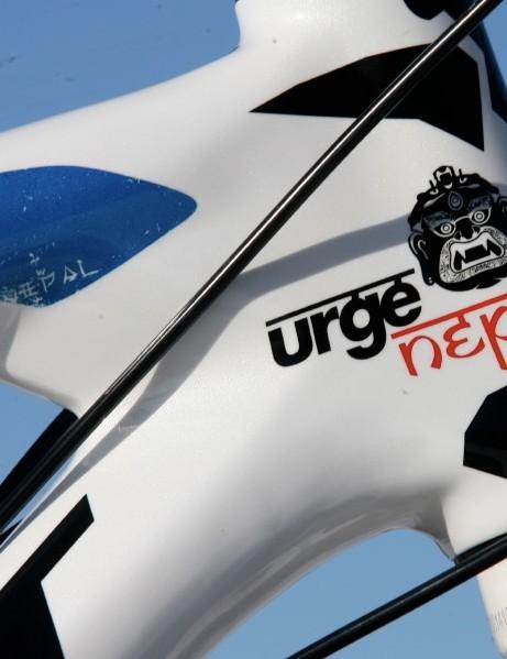 Peridy's bike sports the Urge Nepal logo on its head tube.