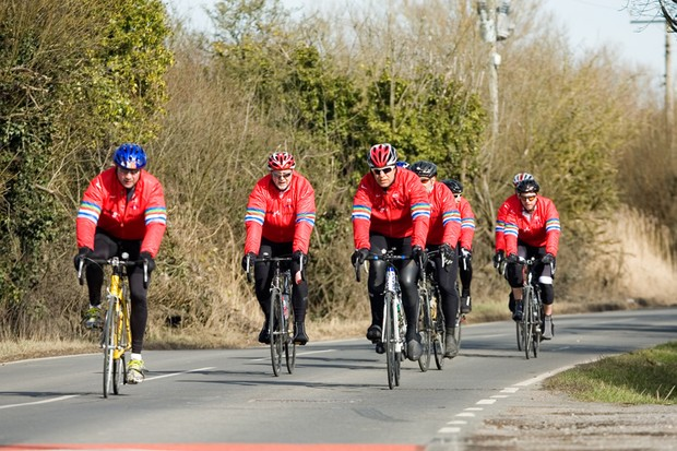 One of the Dallaglio Cycle Slam bunches en route to Cardiff