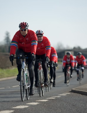 The red jackets of the Cycle Slammers are impossible to miss