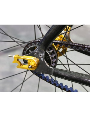 A split dropout is required to slip the belt into the rear triangle