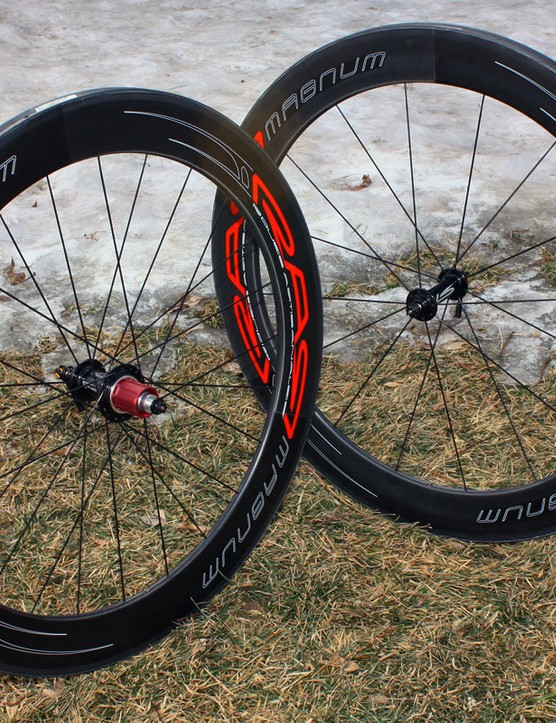 RAR's Magnum carbon road tubulars feature custom made hubs with 2:1 rear lacing and wide bracing angles