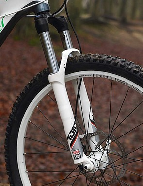 Heavy wheels add to the Mondraker's weight and hamper its sprinting and climbing ability