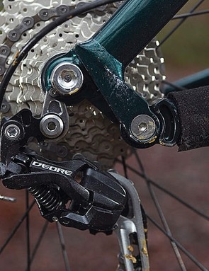 The dropped chainstay pivot helps prevent pedal-induced bobbing, but you lose some small bump sensitivity