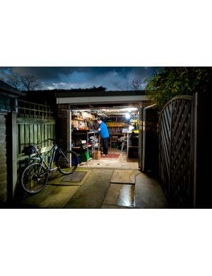 Chris at work in his garage in Silsden, just below the Yorkshire Dales
