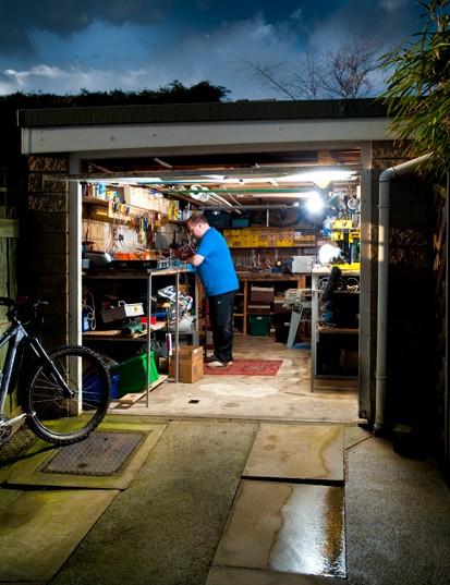 Chris at work in his garage in Silsden, just below the Yorkshire Dales