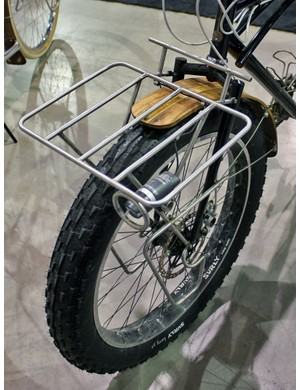 The extra wide stainless steel rack on this custom Banjo cargo bike looks set to haul a lot of gear