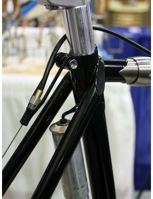 The svelte rear brake housing stop on this Banjo Cycles tourer is neatly brazed to the back of the seat lug