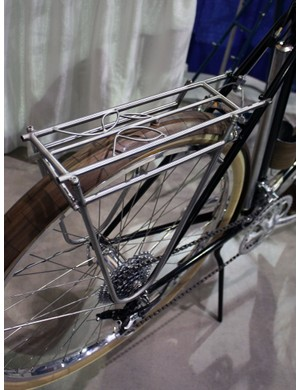 Check out the leaf details on this Banjo Cycles custom stainless steel rack