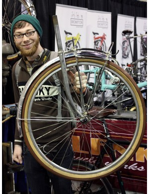 This Bilenky Cycle Works employee proudly shows off one of his custom rack jobs