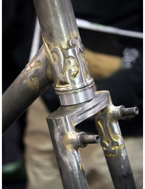 Even though frames are never delivered like this, raw frames such as this one from Bilenky Cycle Works provide visual evidence of a builder's skill with a brazing torch